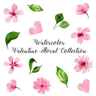 Aquarelle collection florale saint valentin