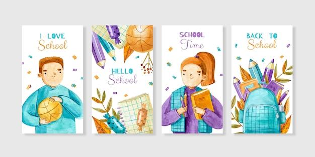 Aquarelle de la collection d'histoires instagram de retour à l'école