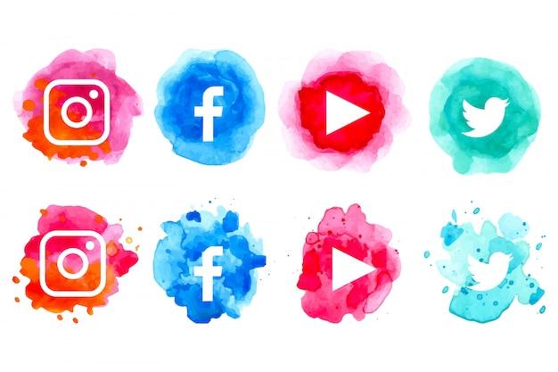 Aquarelle collection d'icônes de médias sociaux