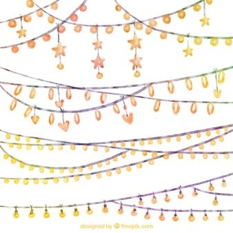 Aquarelle collection de lumière de chaîne
