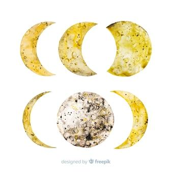 Aquarelle de collection de phases de lune