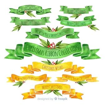Aquarelle collection de rubans de noël vert et jaune