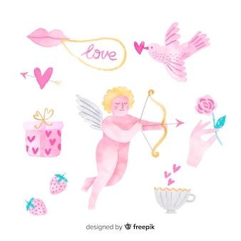 Aquarelle collection saint valentin cupidon