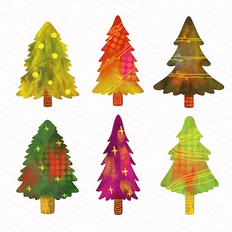 Aquarelle collection de sapins de noël