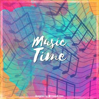 Aquarelle colorée avec des notes musicales