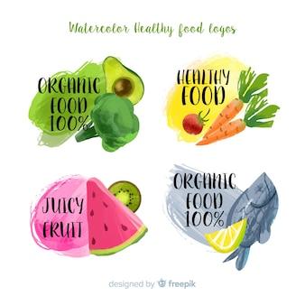 Aquarelle colorée paquet d'étiquettes de nourriture saine