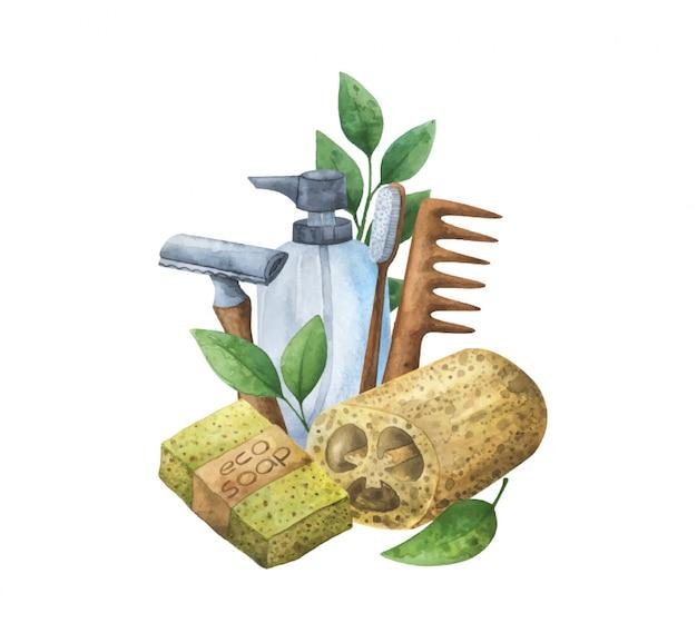 Aquarelle composition écologique d'articles d'hygiène réutilisables.