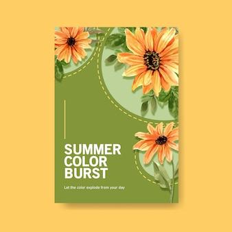 Aquarelle de conception de modèle d'affiche de fleur d'été
