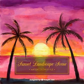 Aquarelle coucher de soleil fond avec des palmiers