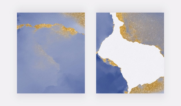 Aquarelle de coup de pinceau bleu avec des arrière-plans de texture de paillettes dorées