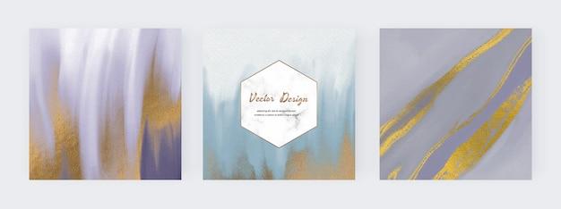 Aquarelle de coup de pinceau bleu avec des bannières de texture de paillettes d'or et des cadres en marbre