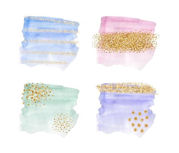 Aquarelle de coup de pinceau bleu, rose, violet et vert avec texture de paillettes d'or, confettis.