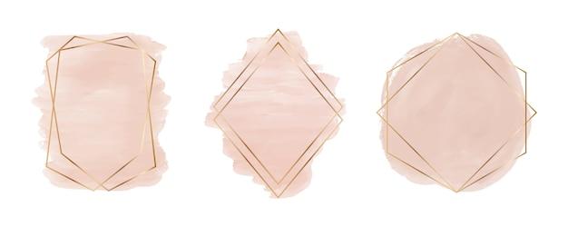 Aquarelle de coup de pinceau nu avec des cadres de lignes géométriques polygonales d'or. clipart éclaboussures. lavages abstraits.