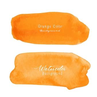 Aquarelle de coup de pinceau orange sur fond blanc.