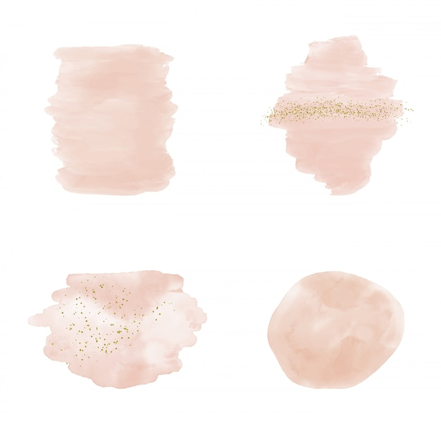 Aquarelle de coup de pinceau rose avec des confettis de paillettes scintillantes d'or.