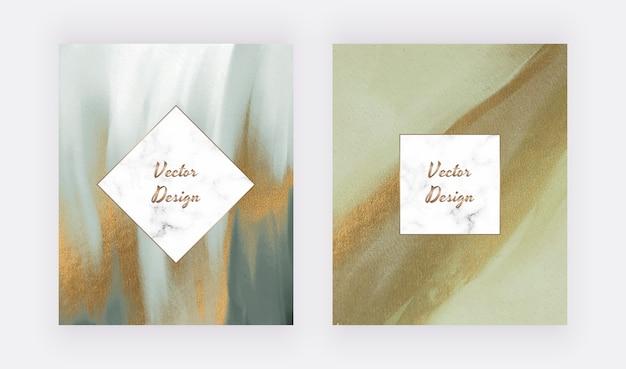 Aquarelle de coup de pinceau vert avec texture de paillettes d'or et cadres géométriques