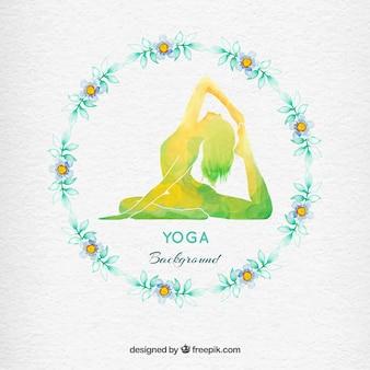 Aquarelle couronne de fleurs yoga fond