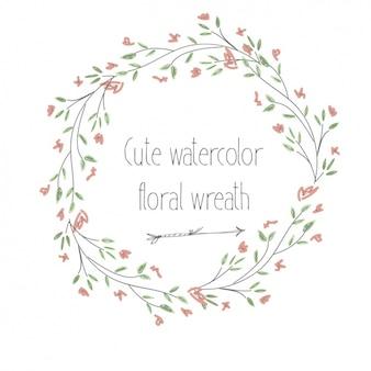 Aquarelle couronne de fleurs