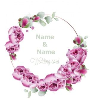Aquarelle de couronne de mariage de pivoine