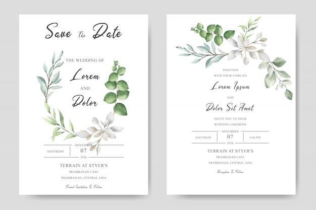Aquarelle décorative carte d'invitation de mariage floral