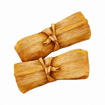 Aquarelle délicieux tamales traditionnels