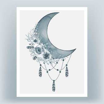 Aquarelle demi-lune en bleu cadet avec fleur