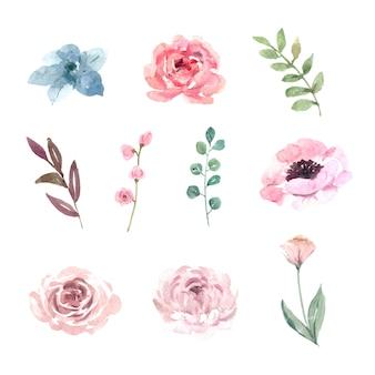 Aquarelle design élément mariage fleur