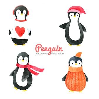 Aquarelle de dessin animé pingouin, dessiné à la main pour les enfants, carte de voeux