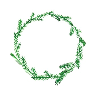 Aquarelle dessin noël nouvel an guirlande de branches de sapin
