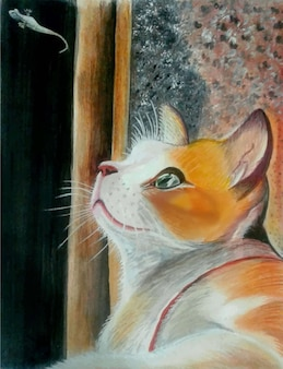 Aquarelle dessiné à la main belle illustration de chat unique