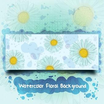 Aquarelle dessinés à la main fond de bannière florale