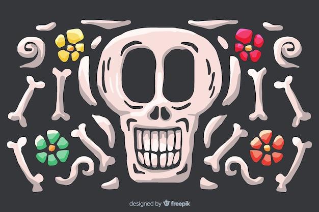 Aquarelle día de muertos avec fond de crâne souriant