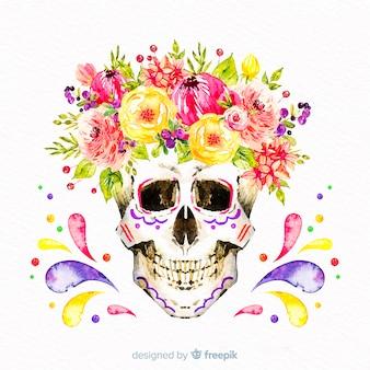 Aquarelle dia de muertos fond