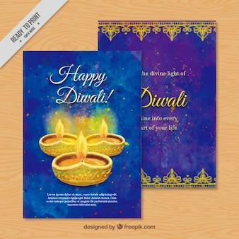 Aquarelle diwali carte de voeux
