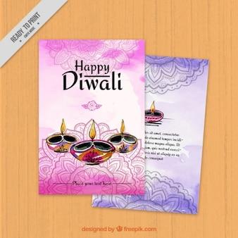 Aquarelle diwali ornementaux flyers