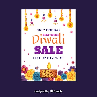 Aquarelle diwali vente flyer avec réduction