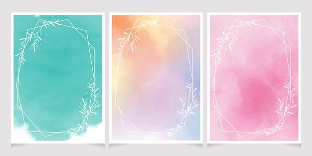Aquarelle douce avec cadre de couronne de feuilles blanches pour carte d'invitation de mariage