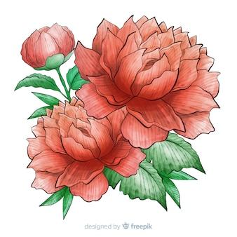 Aquarelle douce fleur de corail