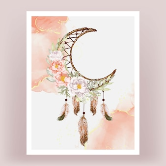 Aquarelle dream catcher pivoines orange blanc plume