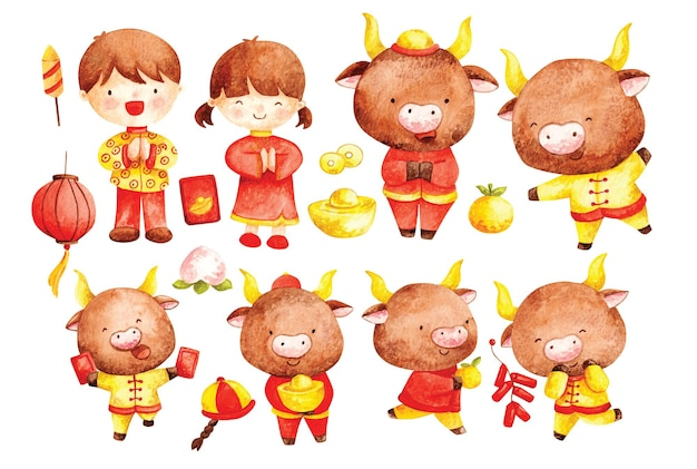 Aquarelle du nouvel an chinois 2021, année du bœuf doodle