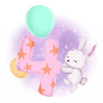 Aquarelle du quatrième anniversaire du bébé lapin