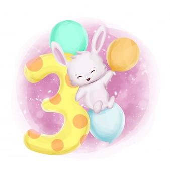 Aquarelle du troisième anniversaire du bébé lapin