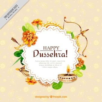 Aquarelle dussehra fond avec des éléments décoratifs