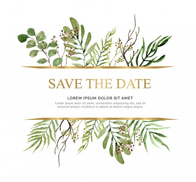 Aquarelle économiser la date laisse bouquet pour carte de mariage.