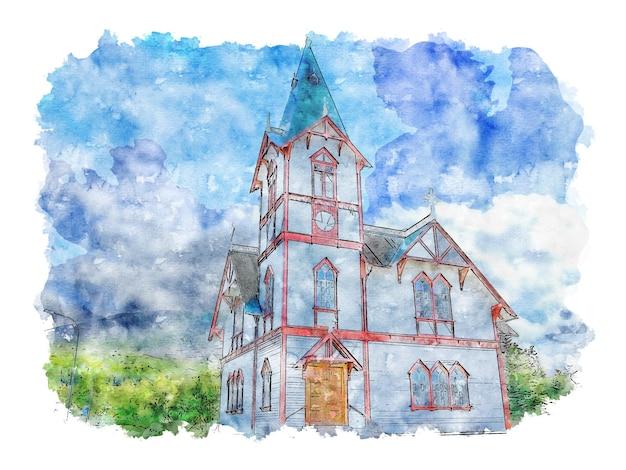 Aquarelle d'église en bois blanc