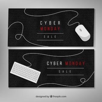 Aquarelle élégant cyber lundi bannières