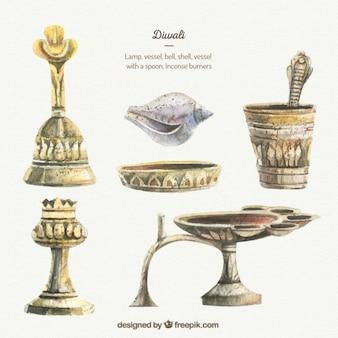 Aquarelle éléments diwali