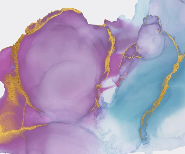 Aquarelle d'encre rose et bleu alcool avec fond de texture de paillettes d'or