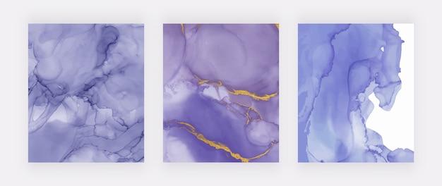 Aquarelle d'encre violet alcool avec jeu de texture de paillettes d'or