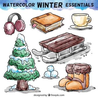 Aquarelle essentiels d'hiver